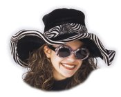 Black w/Zebra Trim Ladies Pimp Hat   [SOLD OUT]