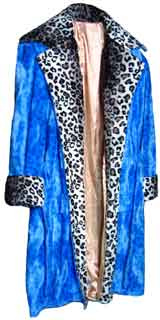 Pimpdaddy® Limited Pimp Suits - Blue Leopard w/Snow Leopard Valboa Trim Pimp Suit   [SOLD OUT]