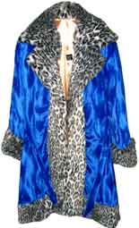Pimpdaddy® Premium Pimp Suits - Blue Valboa w/Snow Leopard Fur Pimp Suit