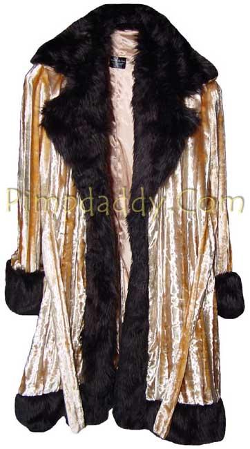 Pimpdaddy Big Baller Pimp Suits Gold Minky Velvet W Black Fur Suit